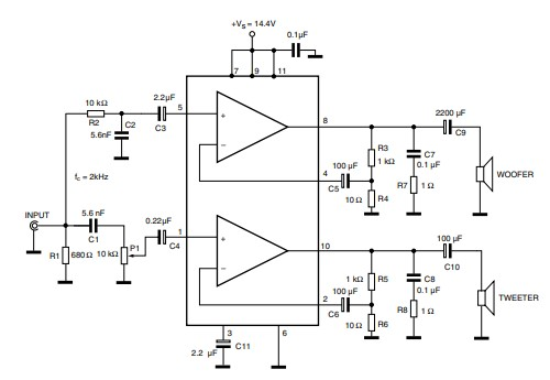 TDA2005 2x10 Watts Stereo Amplifier Circuit Example