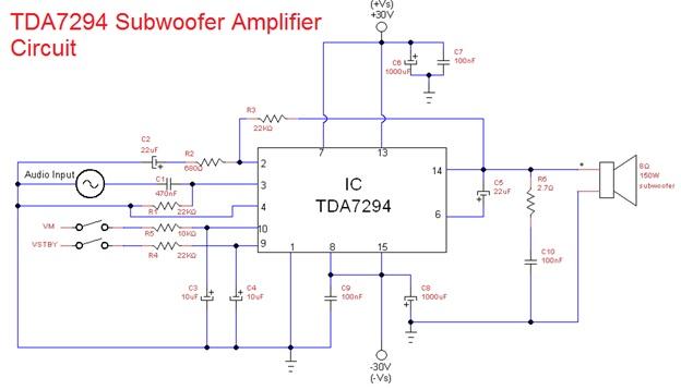 subwoofer amplifier circuit designed using TDA7294 IC