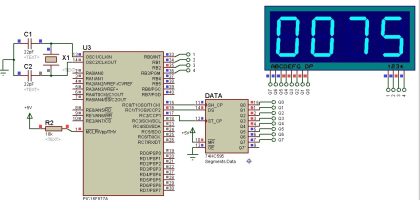 74HC595 interfacing with 4-digit 7-segment display and Pic Microcontroller