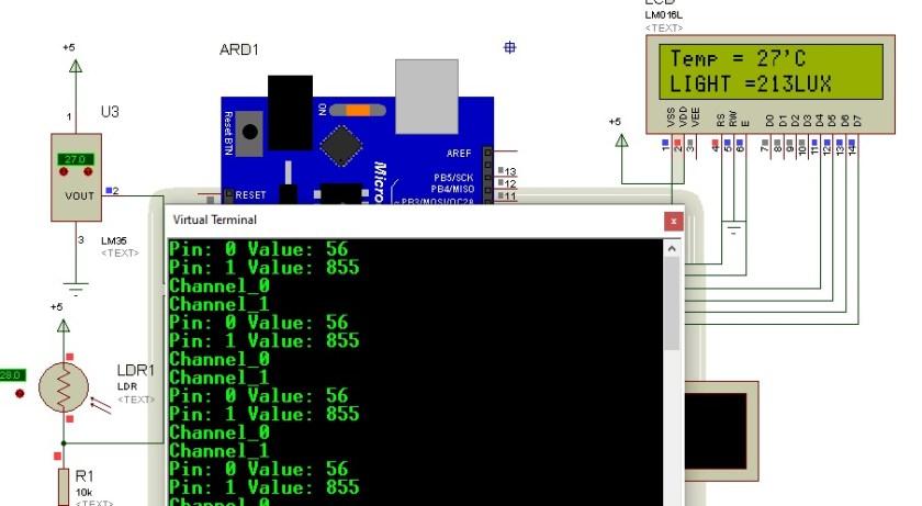 Arduino FreeRTOS Queue structure simulation result in proteus