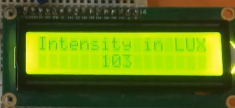 BH1750 light intensity on LCD using Arduino