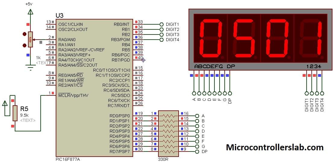 Display adc value on 7 segment display using pic microcontroller circuit diagram