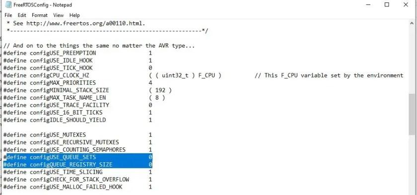 Enable FreeRTOS queue sets configuration bit in FreeRTOSConfig file