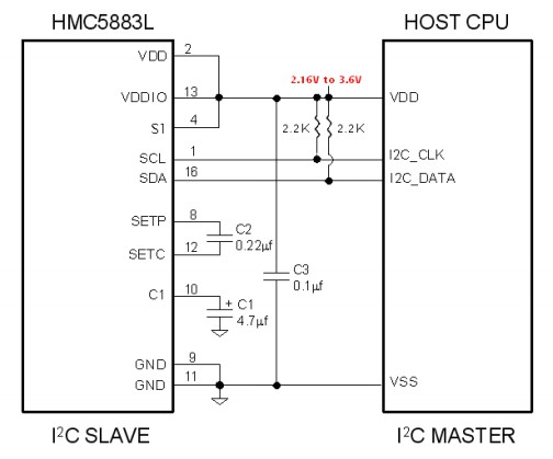 HMC5883L single supply connection diagram with pic microcontroller