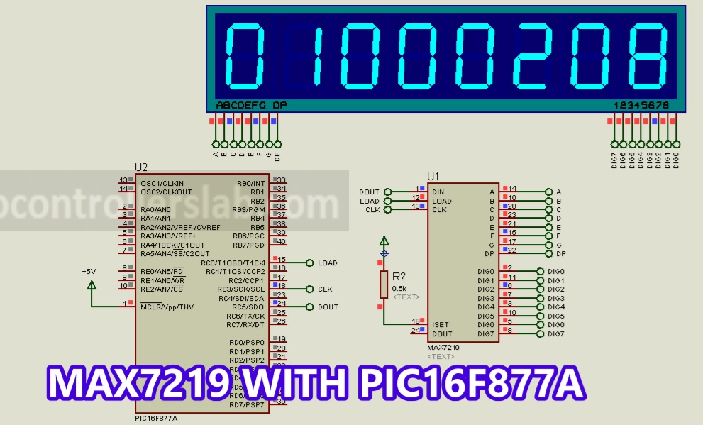 MAX7219 interfacing with 8-digit Seven-Segment Display using pic microcontroller
