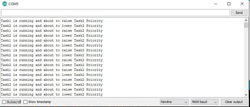 how to change task priority using FreeRTOS and Arduino Serial Monitor
