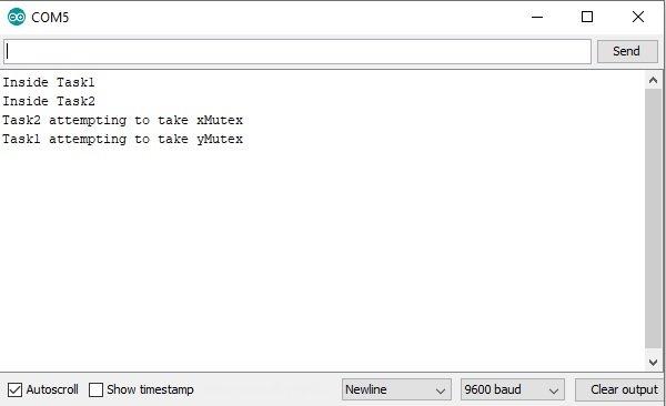 FreeRTOS deadlock Example with Arduino