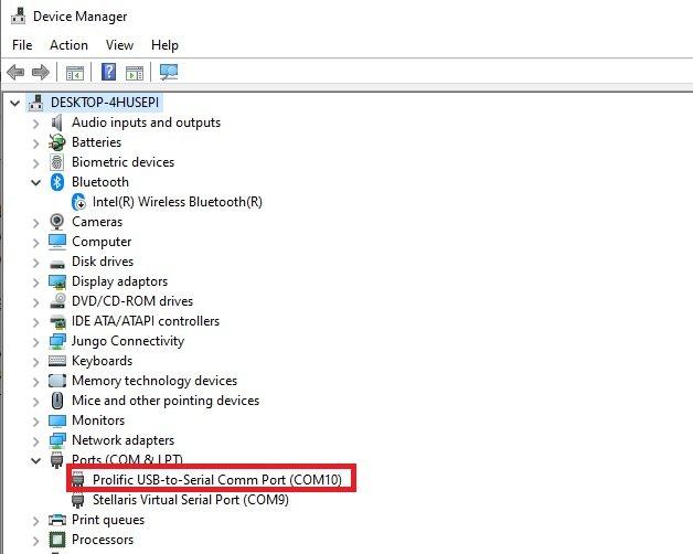 Device manager find COM PORT