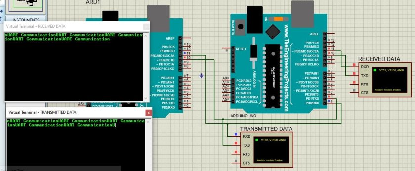 Connection diagram between Two Arduio boards for serial communication proteus simulation output