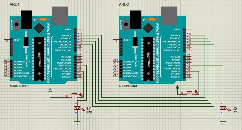 spi communication between two arduino boards proteus simulation 3