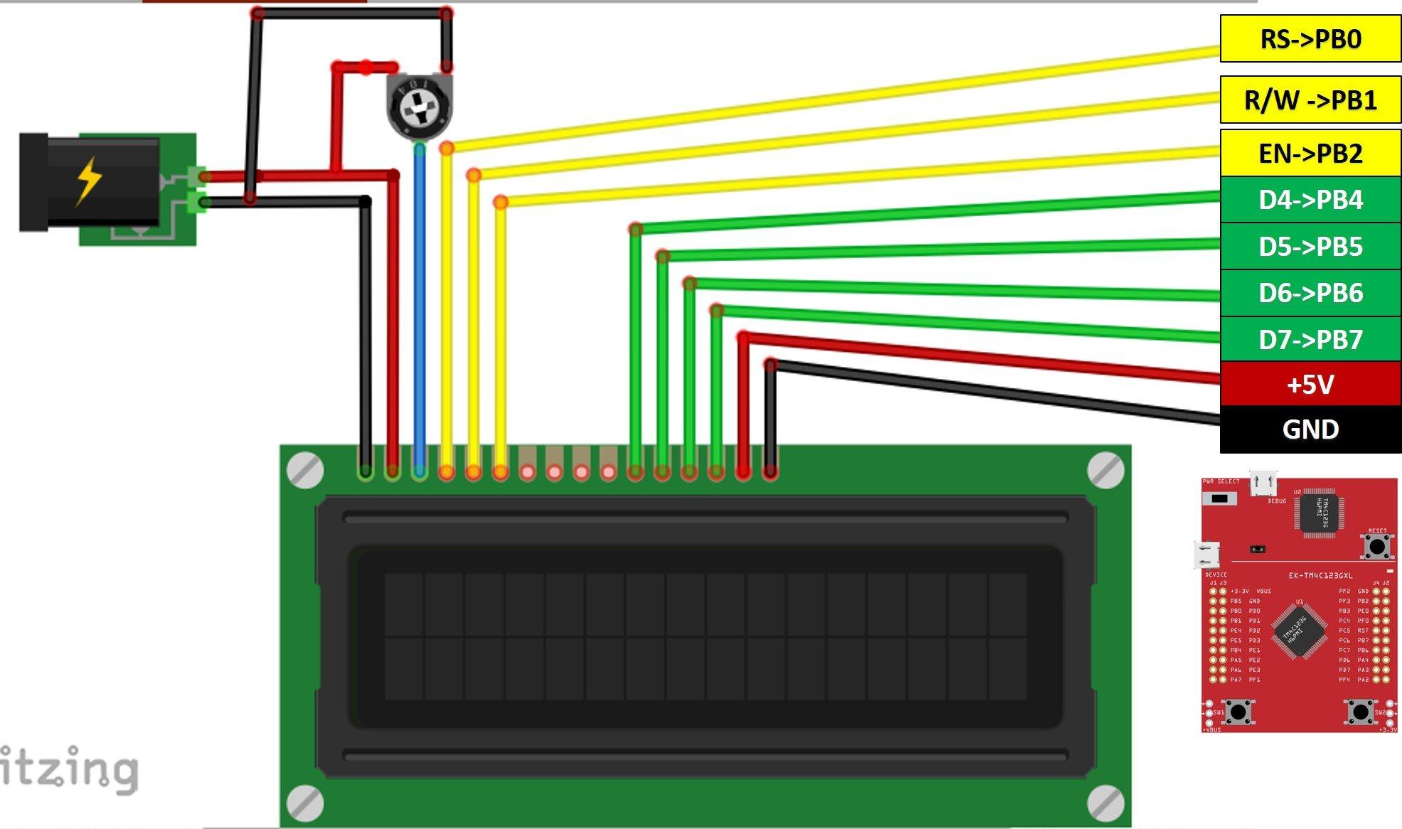 LCD interfacing with TM4C123 Tiva C Launcpad
