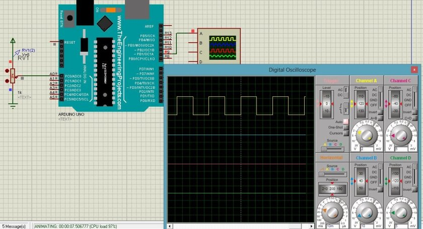 variable frequency pwm arduino proteus simulation 1