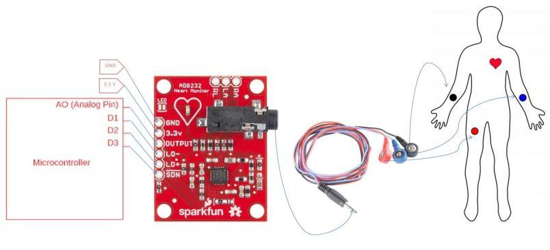 AD8232 ECG Module interfacing with microcontroller