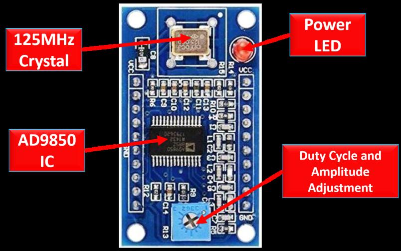 AD9850 DDS Signal Generator Module components
