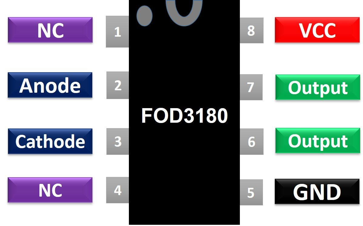 FOD3180 MOSFET Gate Driver Optocoupler pinout diagram