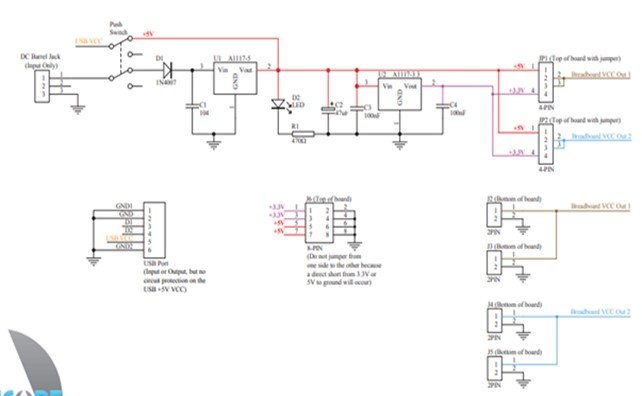 MB102 Breadboard Power Supply Module schematic diagram