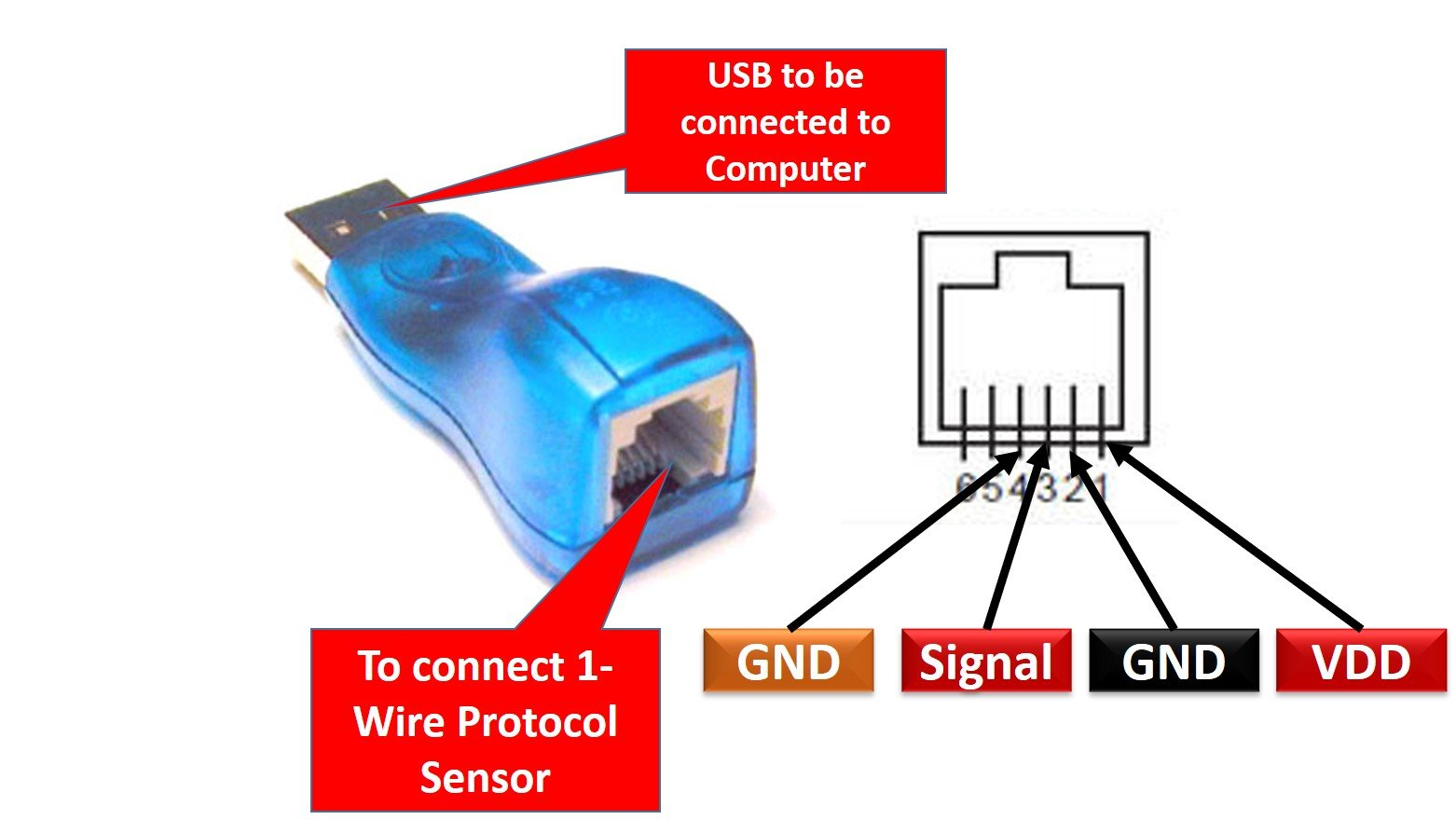 DS9490R USB to 1 Wire Adapter pinout diagram