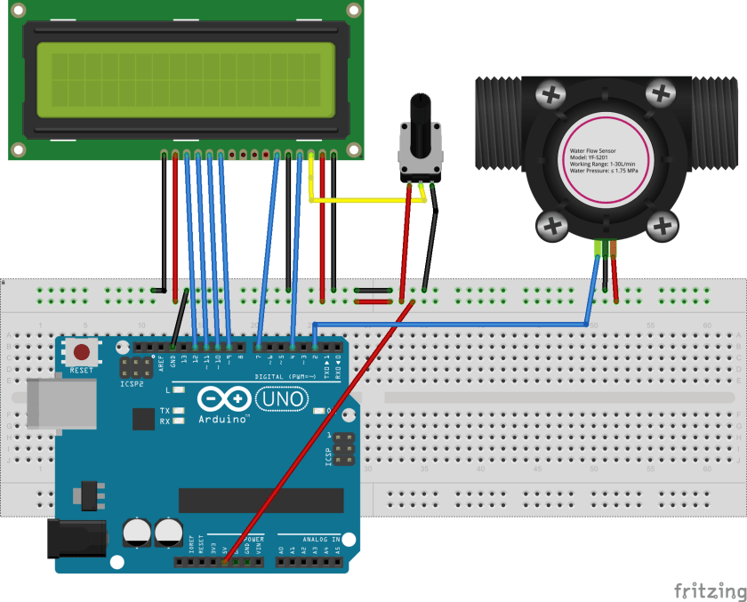 YF-S201 wate flow sensor interfacing with Arduino and LCD connection diagram
