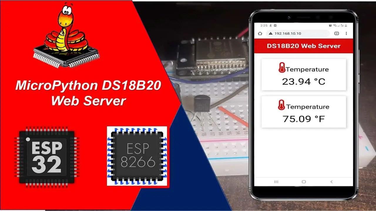 MicroPython DS18B20 Web Server ESP32 ESP8266