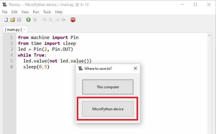 upload micropython script to esp32 thonny ide. 2