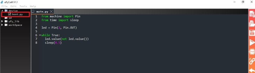 upycraft IDE boot py file