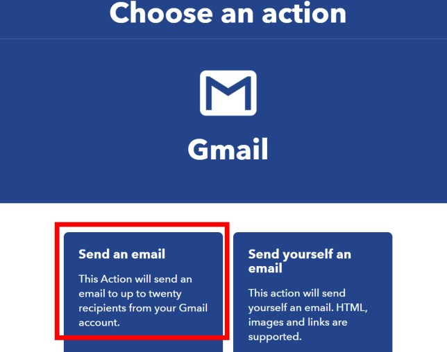 IFTTT create gmail service 12