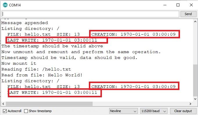LittleFS timestamp before file operation
