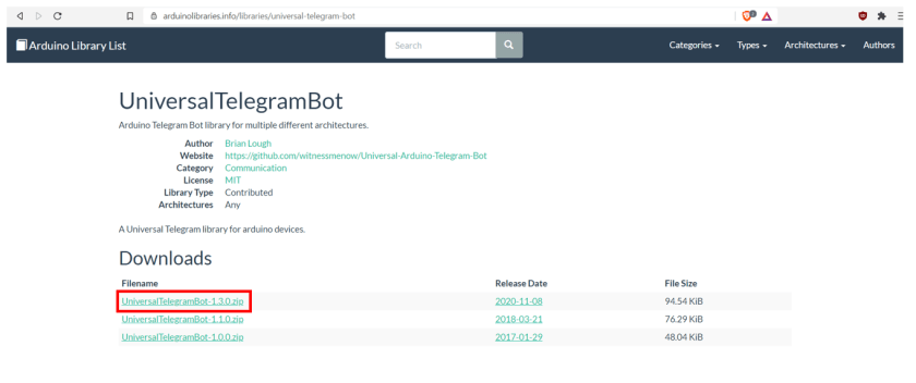 Telegram_ESP32_ESP8266_Installing_UniversalTelegramBot_library