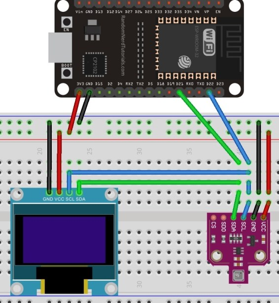 connection diagram of OLED with ESP32 and BME680