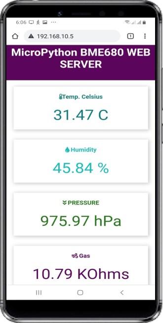 display bme680 sensor values on web server mobile demo