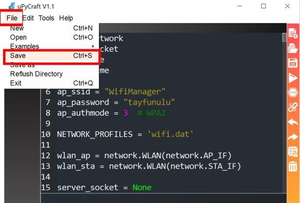 micropython wifi manager library upload upycraft ide 2