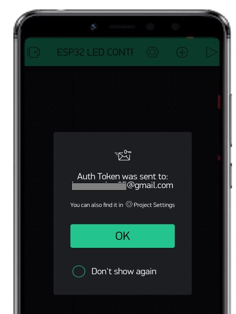 Blynk app auth token