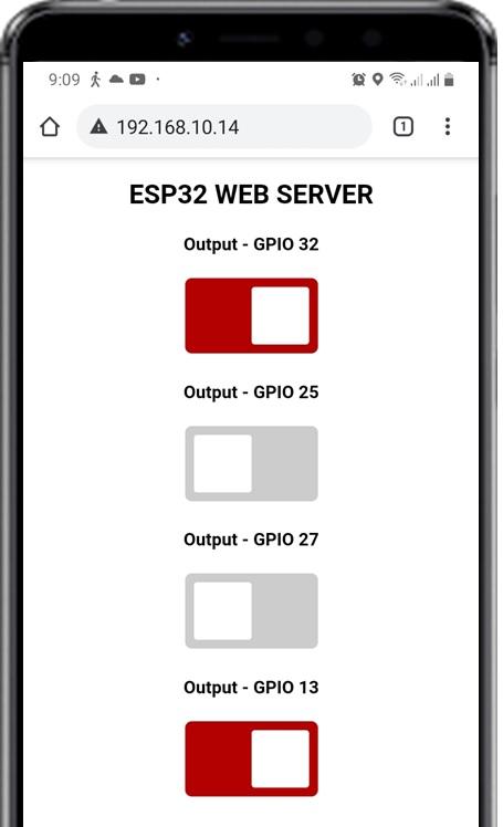 ESP32 Async Web Server control relays gpios and leds