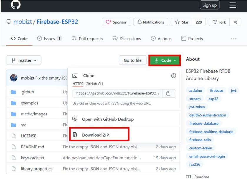 ESP32 Google Firebase build your own app installing ESP32 Firebase library