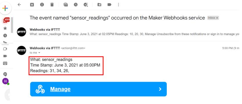 ESP32 HTTP POST IFTTT email demo