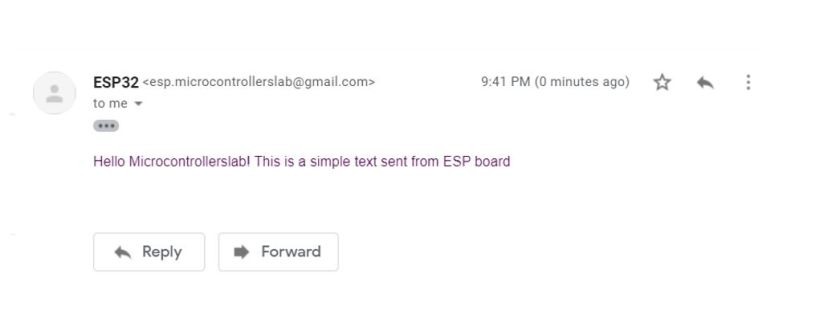 ESP32 email via SMTP server demo simple text