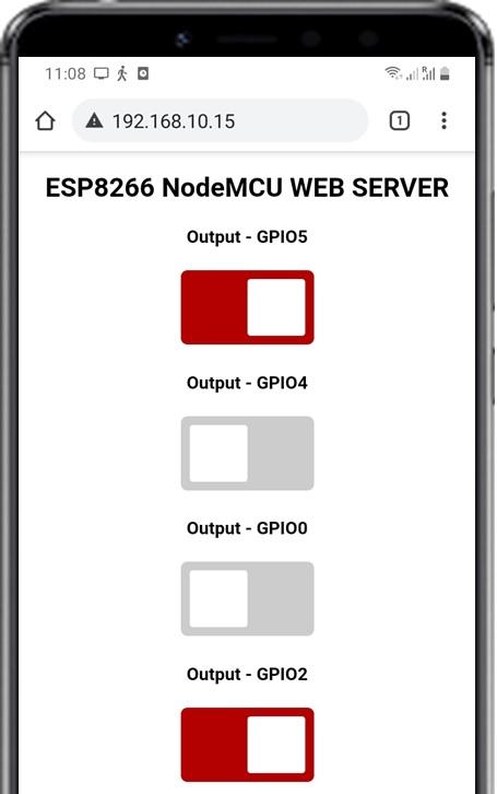 ESP8266 Async Web Server control relays gpios and leds