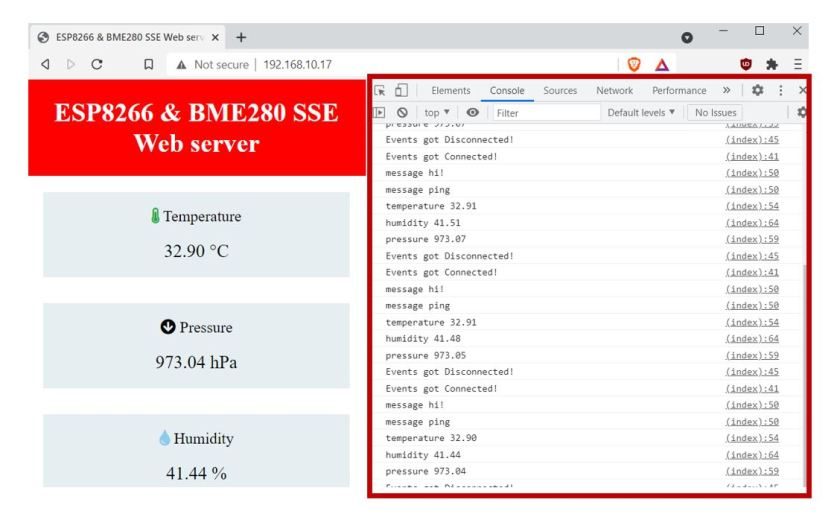 ESP8266 and BME280 SSE Web server demo console