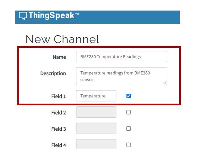 thingspeak create new channel