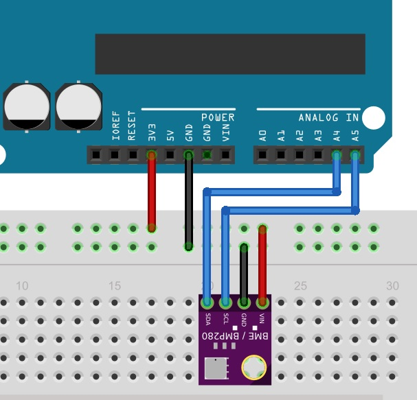 BME280 interfacing with Arduino connection diagram
