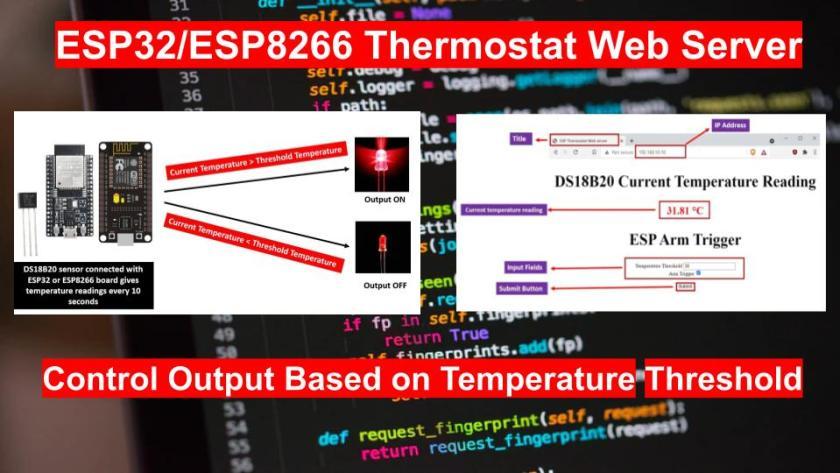 ESP32 ESP8266 Thermostat Web Server Control Output with temperature threshold