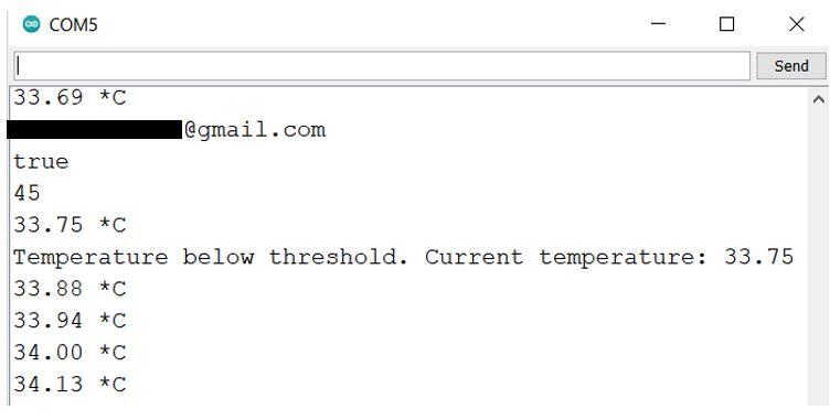 Email Alert web server demo serial monitor 2