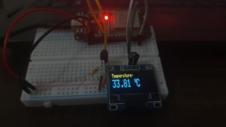display DS18B20 values on OLED ESP32