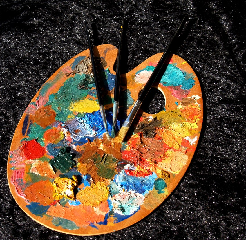 art palette with brushes and paint
