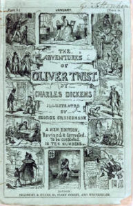 "Cover of First Edition of ""The Adventures of Oliver Twist"" designed by George Cruikshank"