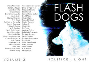 Promotional artwork by Tamara Rogers for one of the two books in Flash Dogs Anthology Volume 2