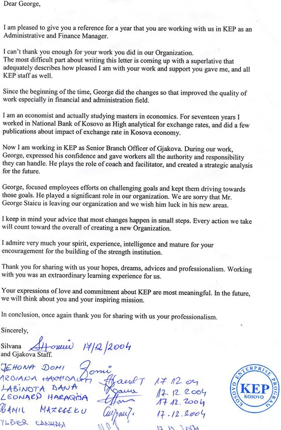 Letter Of Appreciation For George Staicu Kep