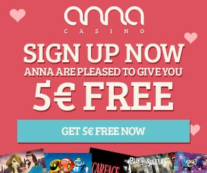 Anna Casino 80 free spins and €5 free chips - no deposit bonus
