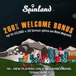 Spinland Casino £/€3,500 free bonus & 200 slot spins for new players