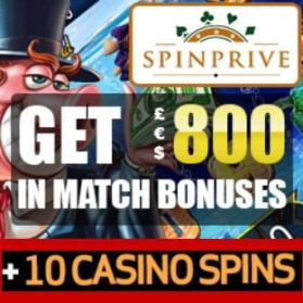 Spinprive Casino 10 free spins on sign-up and €800 bonus